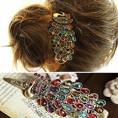 Great Cute Vintage Womens Colorful Rhinestone Peacock Barrette Hairpin Hair Clip