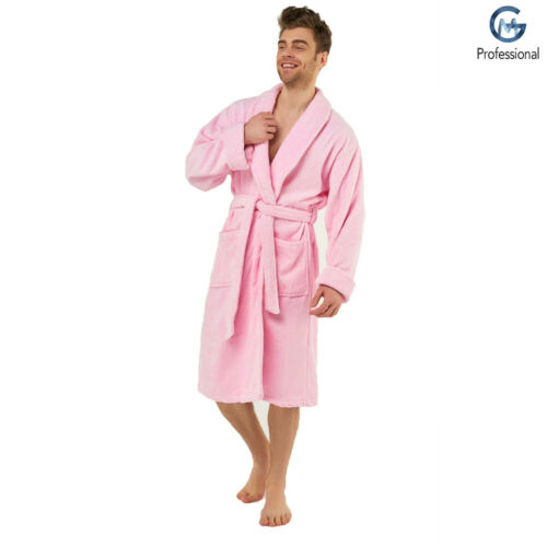 Terry Towel Bath Robe Egyptian Cotton Toweling Hooded Adults Soft Gown Pink