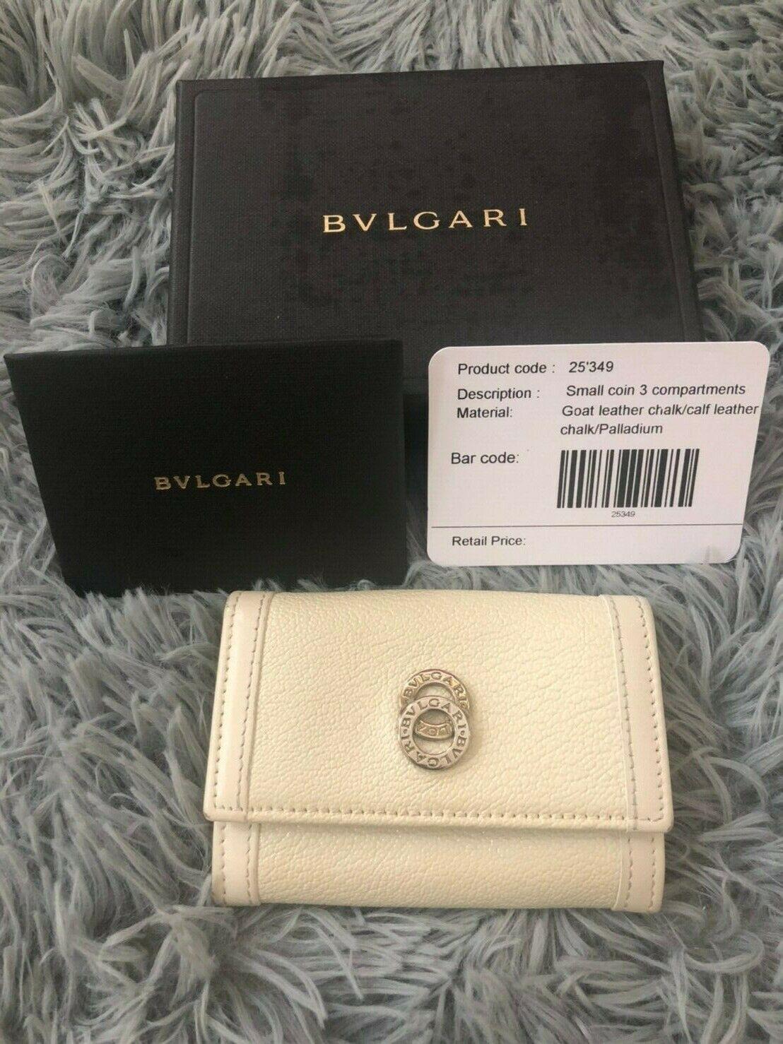 BVLGARI Goat/Calf Leather Logo Small Card Coin 3 Compartment Holder Lieiel Chalk