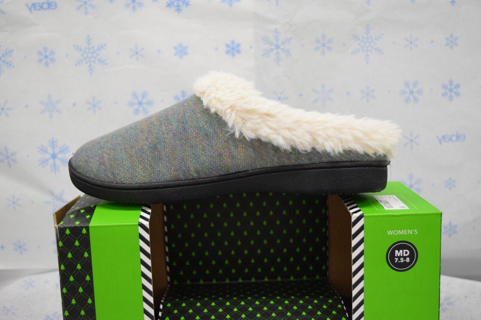 ISOTONER SLIPPERS 7.5-8 Medium Denim WOODLANDS Heel Cushion Fleece