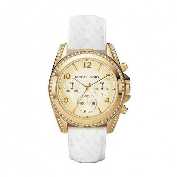 53be60631 Michael Kors MK 5282 Women S Chrono White Crystals Glitz Embossed Leather  Watch for sale online | eBay