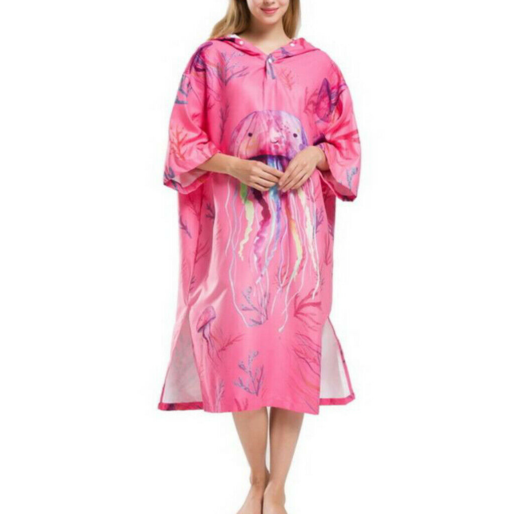 Women Poncho Towel Hooded Changing Robe Fit for Surf Beach Kayak Swim