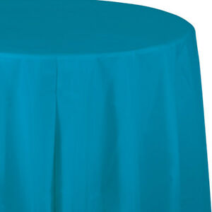 """Teal Plastic Round Tablecloth 82/"""""""