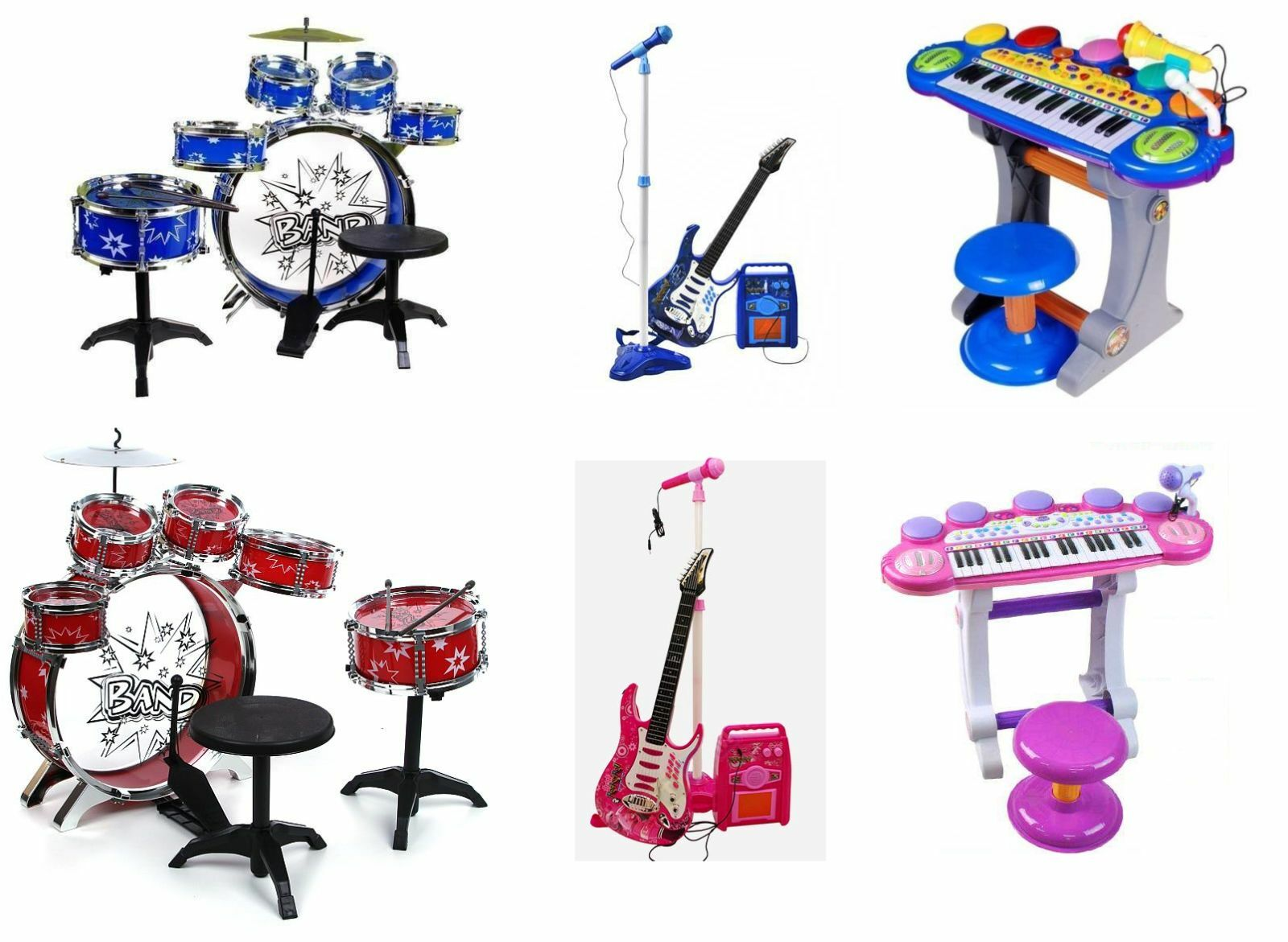 Kinder Baby SET  Schlagzeug Trommel + Piano Keyboard Klavier + Kindergitarre NEU