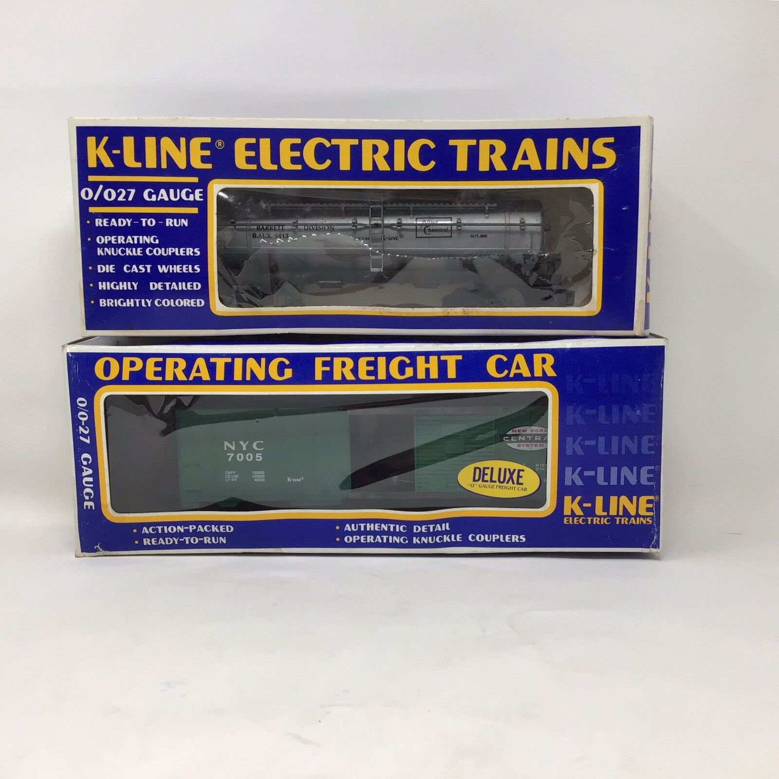 2 K-line electric trains NYC K-7005 Allied Chemical K-5413 Operating Freight Car