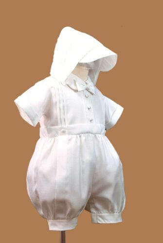 White New Born Short Rompers Baby Toddler Boy Christening Baptism 0-30M Sz 0-4