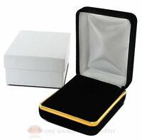 Black Velvet Pendant Necklace Earrings Jewelry Gift Box 2 1/4 X 3 X 1 1/4h