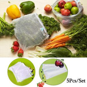 5pcs-Reusable-Produce-Bags-Black-Rope-Mesh-Vegetable-Fruit-Toys-Storage-Pouch-UK