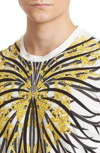 Cream Versace Collection /'Baroque/' Graphic Cotton T-Shirt