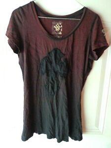 Details about Women's Velvet Stone Short Sleeve Shirt Size L PurpleBlack tie dye with cross