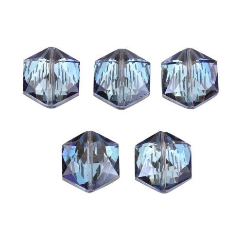 10 à tête hexagonale à facettes verre cristal collier boucles d/'oreille Making Loose Spacer Beads 18 mm