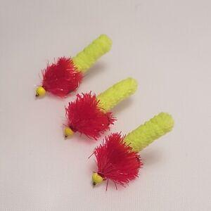 GH405 3   Hot Bead Headed Red Fritz Yellow Mop Wotsit Flies # 10s