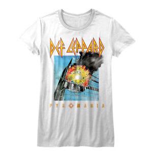 7b0f69ce8fe30 Details about Def Leppard Pyromania Album Cover Women s T Shirt Heavy Metal  Rock Band Tour Top