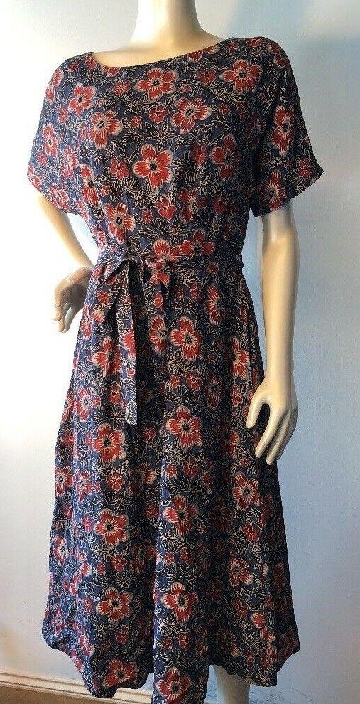 Toast Floral belted Dress Viscose Größe 16 Bin-O