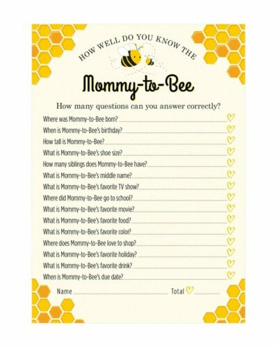 """24 Count Who Knows Mommy Best /""""Mommy-to-Bee/"""" Baby Shower Game"""