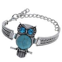 Turquoise Bangle Tibetan Silver Animal Cuff Chain Link Bracelet Fashion Jewelry