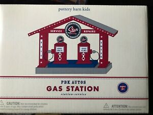 NIB Pottery Barn Kids Retro Wooden Train Gas Station Playset.BRIO/T<wbr/>homas compat.