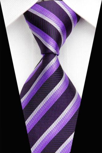 1 x mens tie silk wedding business man christmas gift purple lavender stripe new