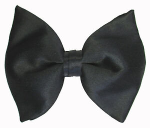355cb9c40ce New Black Satin Butterfly Style Bow Tie Over Sized Pre-Tied  Free ...