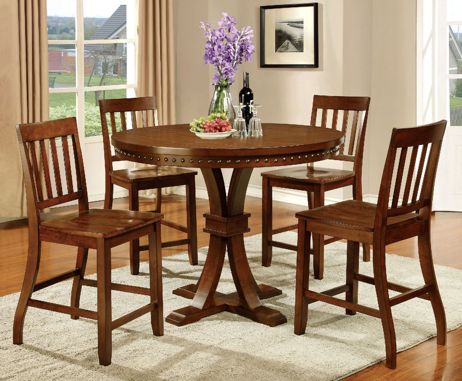 Modern Round Dining Table Dark Oak Finish Chairs Counter Height 5pc Dining Set For Sale Online Ebay