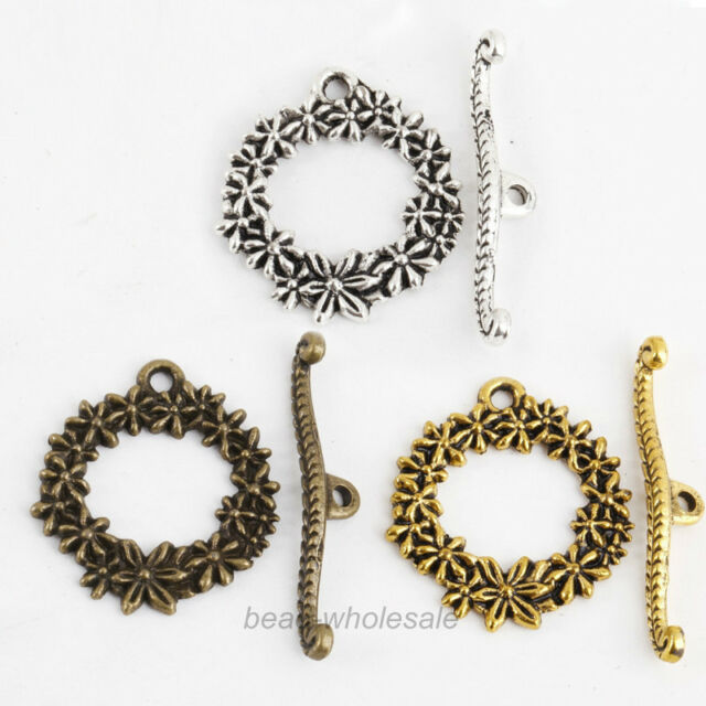 20 Sets Wholesale Antique Silver/Gold/Bronze Metal Flower Circle Toggle & Clasp