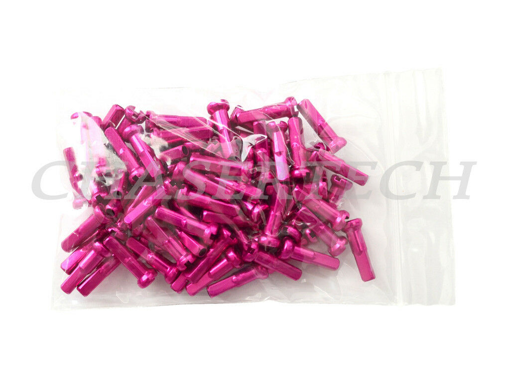 "New MTB Road BMX Bike 7075 Alloy Spoke Nipples 2.0mm 14G 5//8/"" 100 Pcs Hot Pink"