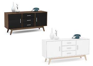 Details About Birlea Shard Gloss Sideboards 2 Door 3 Drawer Wooden Legs Black Or White