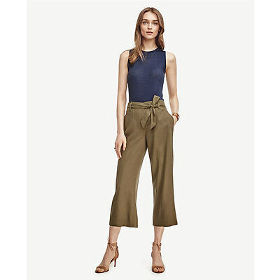Ann Taylor Petites Shaded Palm Green Tie Waist Cropped Wide Leg Pants $98.00 (H)