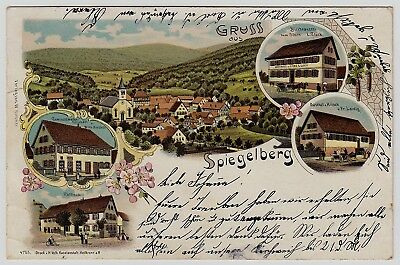 Ak U 1900 Litho Brauerei Zum Stern & Gasthaus Stern Spiegelberg Oa Backnang