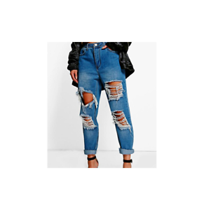 5485c3d1f8 Image is loading Boohoo-Ria-Distressed-Low-Rise-Boyfriend-Jeans-Blue-