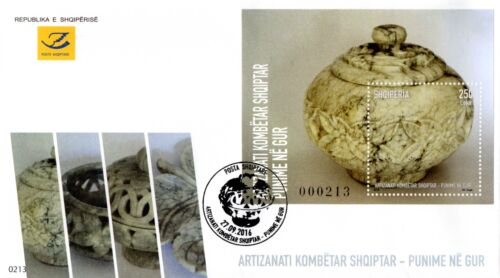Albania Stamp 2016. Albanian national handicrafts. Works in stone. FDC Block MNH