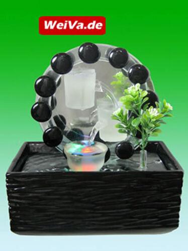 Glas Zimmerbrunnen mit LED Beleuchtung 516 WeiVa Feng Shui Keramik