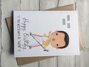 Handmade Personalised Funny Mum Birthday Card Freddie Mercury Queen