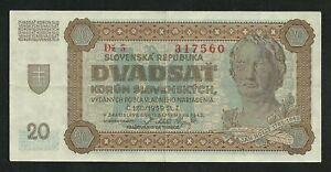 Slovaquie-20-Korun-1942-Non-perfore