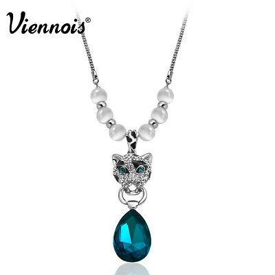 Viennois 18K White Gold GP Blue Swarovski Crystal Leopard Necklace Pendant Chain
