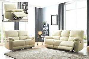 Cream Genuine Leather 3 Seater Or 2 Seat Armchair Recliner Sofa