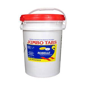 Robelle-Chlorine-3-034-Jumbo-Tabs-Swimming-Pool-Sanitizer-Chemical-25-Lbs