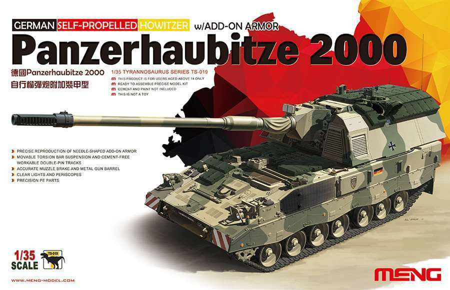 Meng 1 35 German Panzerhaubitze 2000 SP Howitzer WITH ADD-ON ARMOR  TS-019 NISB