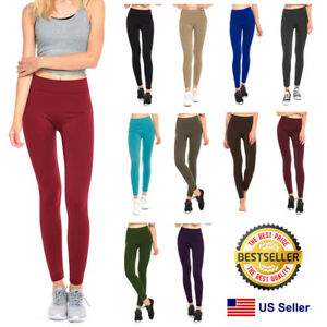 9f818a8a118 Womens Fleece Lined Leggings Warm Winter Thick Solid Colors Regular ...