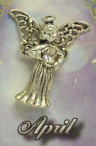 May Guardian Angel Pin Birthstone Antiqued Silver Plated Message Miracles