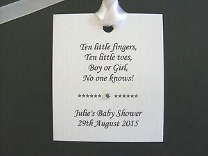Personalised Baby Shower Faveur étiquettes X 24 Blanc - 5 Différents Versets-afficher Le Titre D'origine