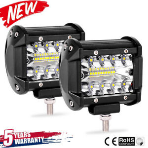 2pcs-4inch-200W-CREE-LED-Work-Light-Bar-Pods-Flush-Mount-Combo-Driving-Lamp-12V