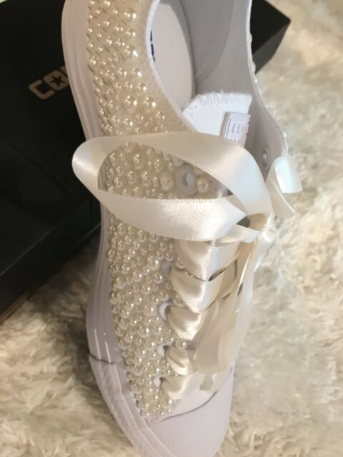 4a2213f48 Custom Converse Chuck Taylor All Star Wedding Pearl Special Occasion Shoes