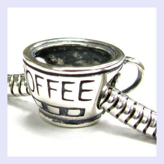 925 Sterling Silver I Love Coffee Mug with Saucer Charm Bead