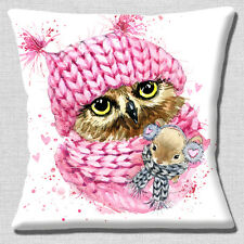 """CUTE OWL PINK KNITTED HAT SCARF SMALL MOUSE ON WHITE 16"""" Pillow Cushion Cover"""
