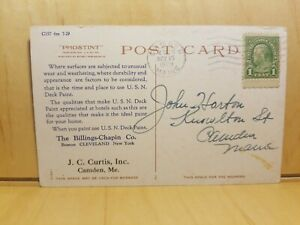 A17-Postcard-1929-J-C-Curtis-Inc-Camden-ME-U-S-N-Deck-Paint-Hot-Springs-VA