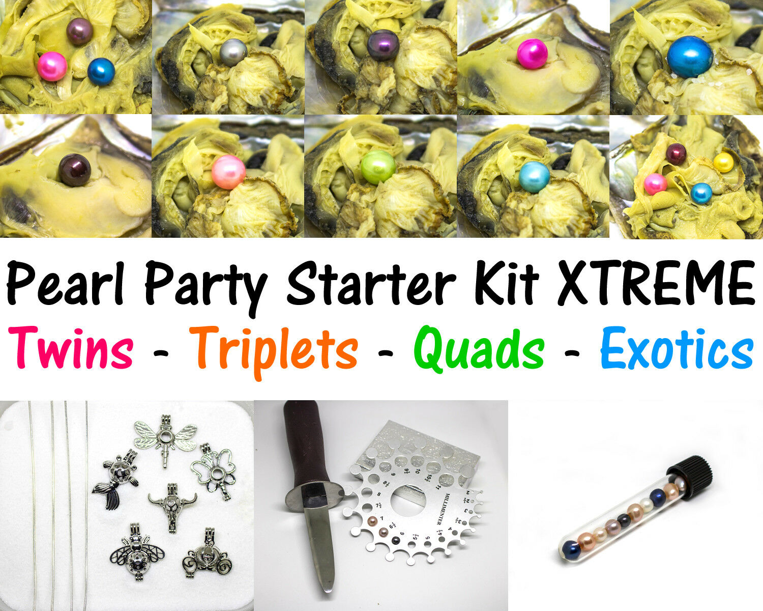 30 Akoya Oysters BULK - Party Party XTREME Kit - Quads, Triplets & Pearl Cages
