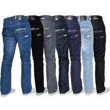 Enzo Mens Designer Straight Fit Regular Leg Denim Jeans All Big King Waist Sizes