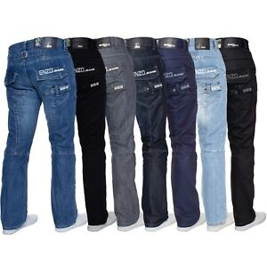 Enzo-Mens-Designer-Straight-Fit-Regular-Leg-Denim-Jeans-All-Big-King-Waist-Sizes