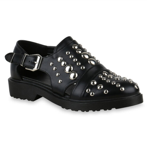 Klassische Damen Halbschuhe Cut Out Leder-Optik Freizeit 822965 Schuhe